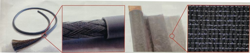 超高屈曲電線用導体の銅箔糸拡大写真